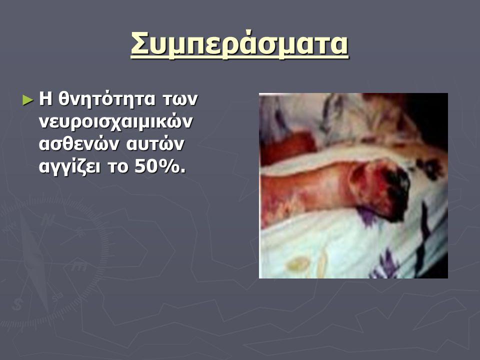 Συμπεράσματα ► Η θνητότητα των νευροισχαιμικών ασθενών αυτών αγγίζει το 50%.