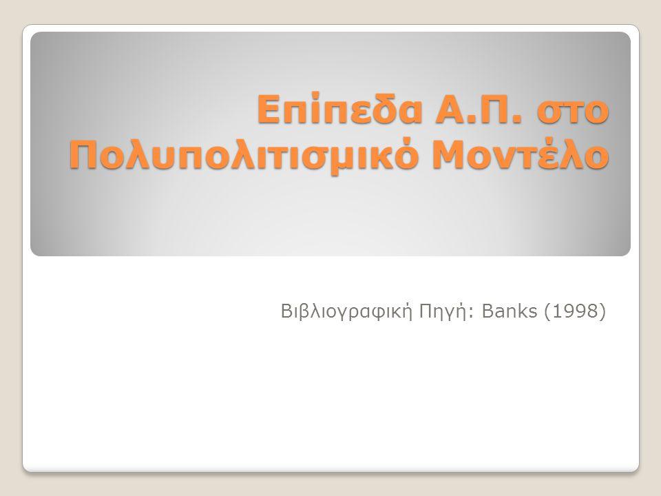 Επίπεδα Α.Π. στο Πολυπολιτισμικό Μοντέλο Βιβλιογραφική Πηγή: Banks (1998)