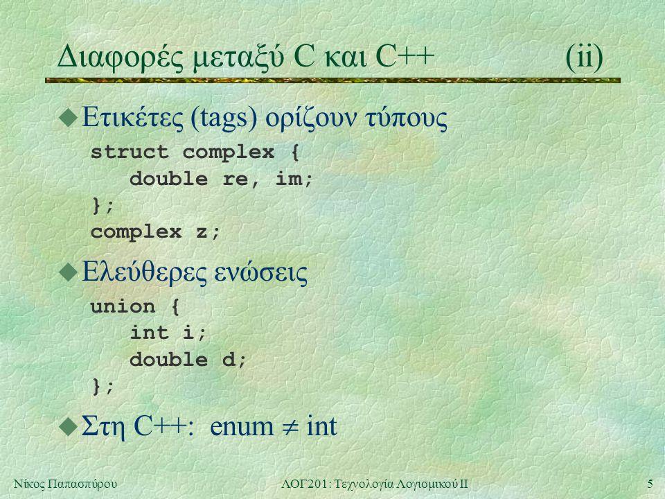 5Νίκος ΠαπασπύρουΛΟΓ201: Τεχνολογία Λογισμικού ΙΙ Διαφορές μεταξύ C και C++(ii) u Ετικέτες (tags) ορίζουν τύπους struct complex { double re, im; }; complex z; u Ελεύθερες ενώσεις union { int i; double d; }; u Στη C++: enum  int
