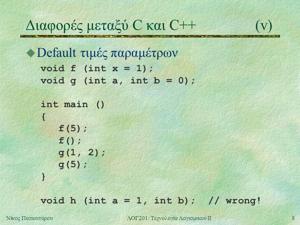 8Νίκος ΠαπασπύρουΛΟΓ201: Τεχνολογία Λογισμικού ΙΙ Διαφορές μεταξύ C και C++(v) u Default τιμές παραμέτρων void f (int x = 1); void g (int a, int b = 0); int main () { f(5); f(); g(1, 2); g(5); } void h (int a = 1, int b); // wrong!
