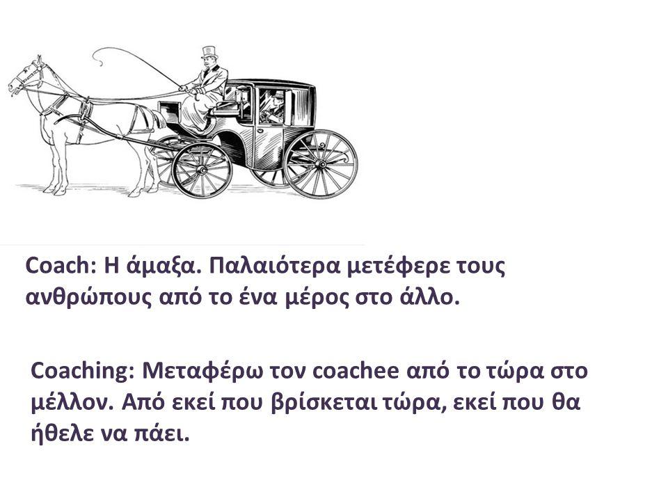 Coach: H άμαξα. Παλαιότερα μετέφερε τους ανθρώπους από το ένα μέρος στο άλλο. Coaching: Μεταφέρω τον coachee από το τώρα στο μέλλον. Από εκεί που βρίσ
