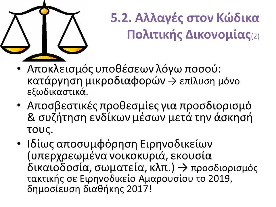 5.2. Αλλαγές στον Κώδικα Πολιτικής Δικονομίας (2) Αποκλεισμός υποθέσεων λόγω ποσού: κατάργηση μικροδιαφορών → επίλυση μόνο εξωδικαστικά. Αποσβεστικές