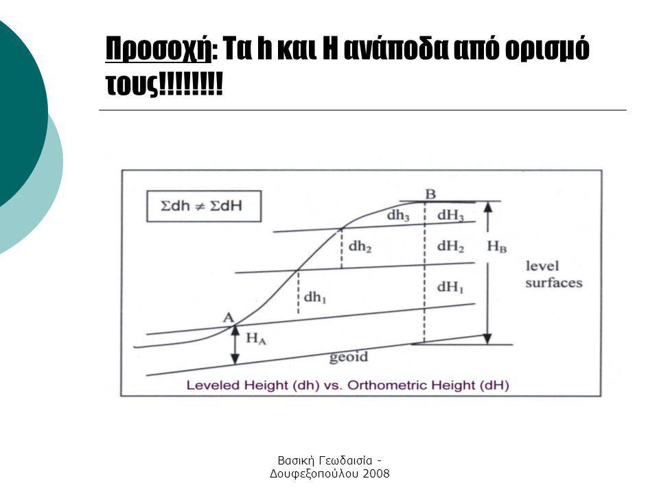 Βασική Γεωδαισία - Δουφεξοπούλου 2008 Προσοχή: Τα h και Η ανάποδα από ορισμό τους!!!!!!!!