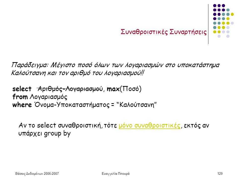 Βάσεις Δεδομένων 2006-2007Ευαγγελία Πιτουρά129 Συναθροιστικές Συναρτήσεις Παράδειγμα: Μέγιστο ποσό όλων των λογαριασμών στο υποκατάστημα Καλούτσανη και τον αριθμό του λογαριασμού!.