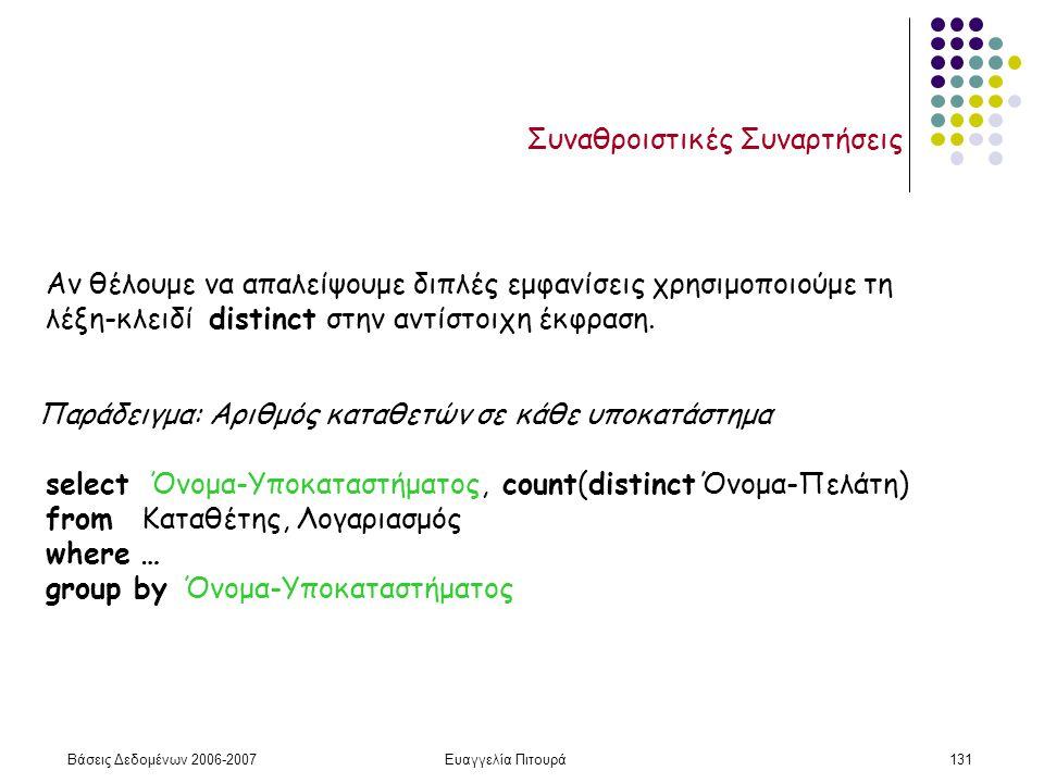 Βάσεις Δεδομένων 2006-2007Ευαγγελία Πιτουρά131 Συναθροιστικές Συναρτήσεις Αν θέλουμε να απαλείψουμε διπλές εμφανίσεις χρησιμοποιούμε τη λέξη-κλειδί distinct στην αντίστοιχη έκφραση.