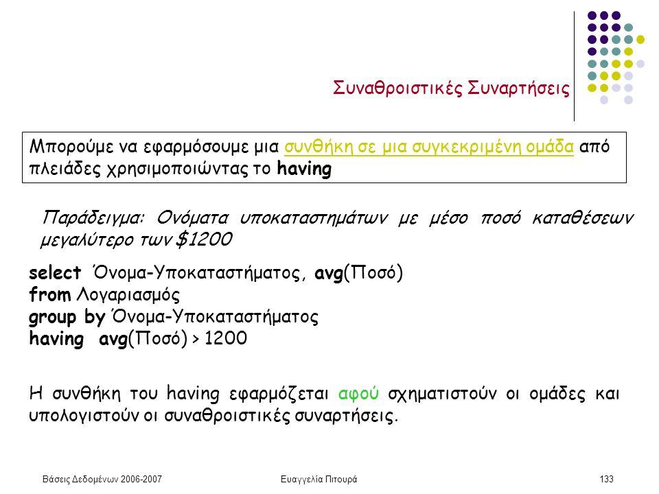Βάσεις Δεδομένων 2006-2007Ευαγγελία Πιτουρά133 Συναθροιστικές Συναρτήσεις Μπορούμε να εφαρμόσουμε μια συνθήκη σε μια συγκεκριμένη ομάδα από πλειάδες χρησιμοποιώντας το having Παράδειγμα: Ονόματα υποκαταστημάτων με μέσο ποσό καταθέσεων μεγαλύτερο των $1200 select Όνομα-Υποκαταστήματος, avg(Ποσό) from Λογαριασμός group by Όνομα-Υποκαταστήματος having avg(Ποσό) > 1200 Η συνθήκη του having εφαρμόζεται αφού σχηματιστούν οι ομάδες και υπολογιστούν οι συναθροιστικές συναρτήσεις.