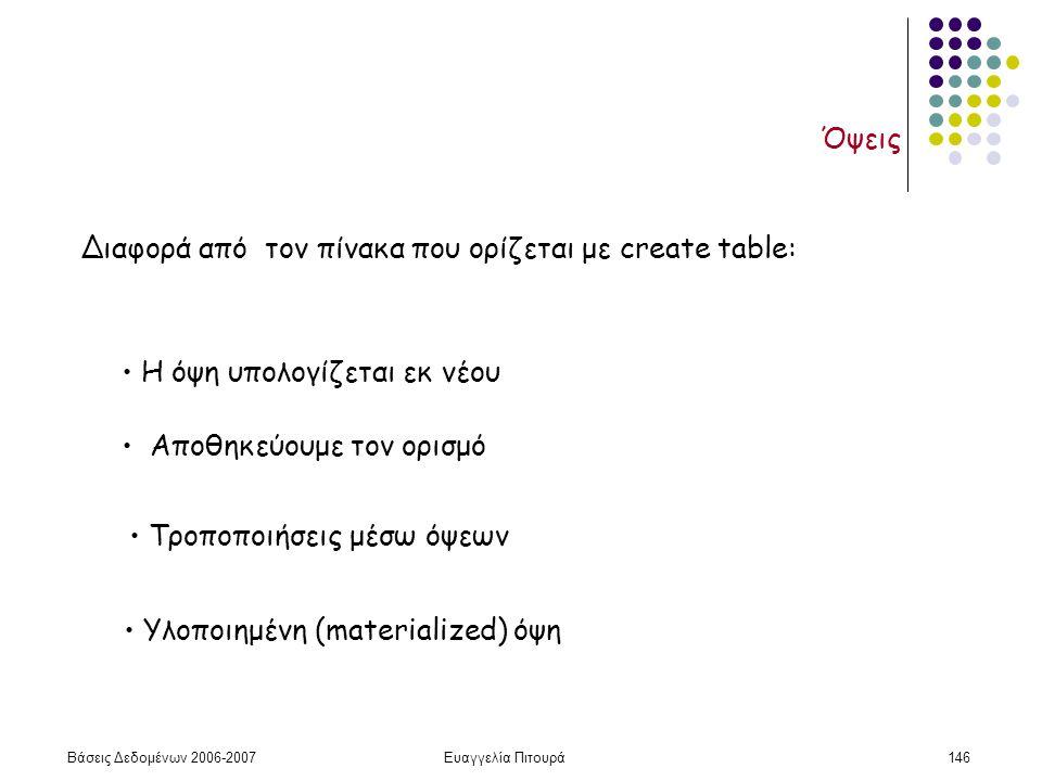 Βάσεις Δεδομένων 2006-2007Ευαγγελία Πιτουρά146 Όψεις Διαφορά από τον πίνακα που ορίζεται με create table: H όψη υπολογίζεται εκ νέου Αποθηκεύουμε τον ορισμό Τροποποιήσεις μέσω όψεων Υλοποιημένη (materialized) όψη