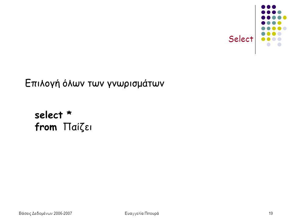 Βάσεις Δεδομένων 2006-2007Ευαγγελία Πιτουρά19 Select select * from Παίζει Επιλογή όλων των γνωρισμάτων