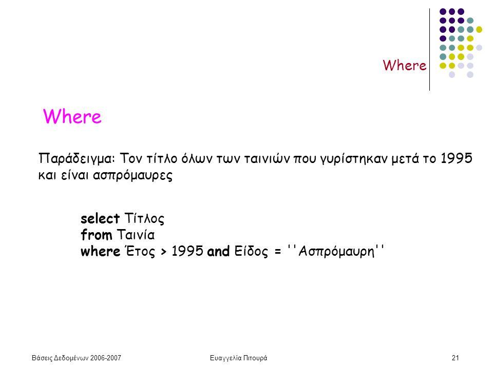 Βάσεις Δεδομένων 2006-2007Ευαγγελία Πιτουρά21 Where Παράδειγμα: Τον τίτλο όλων των ταινιών που γυρίστηκαν μετά το 1995 και είναι ασπρόμαυρες select Τίτλος from Ταινία where Έτος > 1995 and Είδος = Ασπρόμαυρη