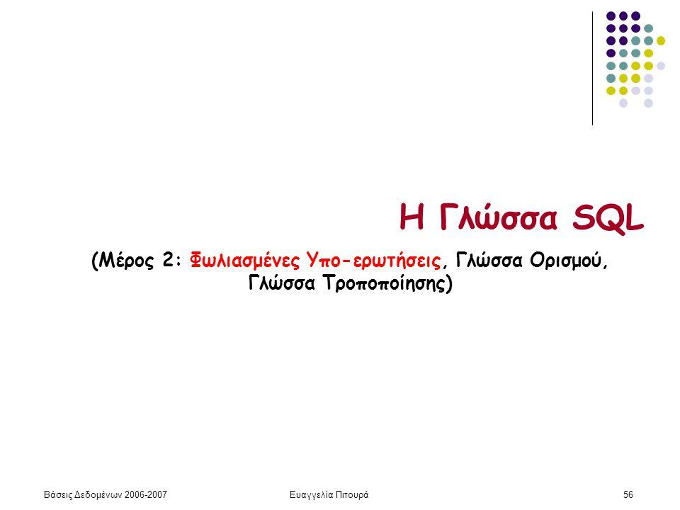Βάσεις Δεδομένων 2006-2007Ευαγγελία Πιτουρά56 Η Γλώσσα SQL (Μέρος 2: Φωλιασμένες Υπο-ερωτήσεις, Γλώσσα Ορισμού, Γλώσσα Τροποποίησης)