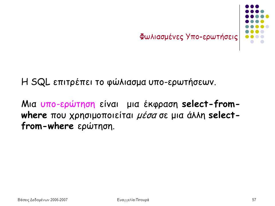 Βάσεις Δεδομένων 2006-2007Ευαγγελία Πιτουρά57 Φωλιασμένες Υπο-ερωτήσεις Η SQL επιτρέπει το φώλιασμα υπο-ερωτήσεων.