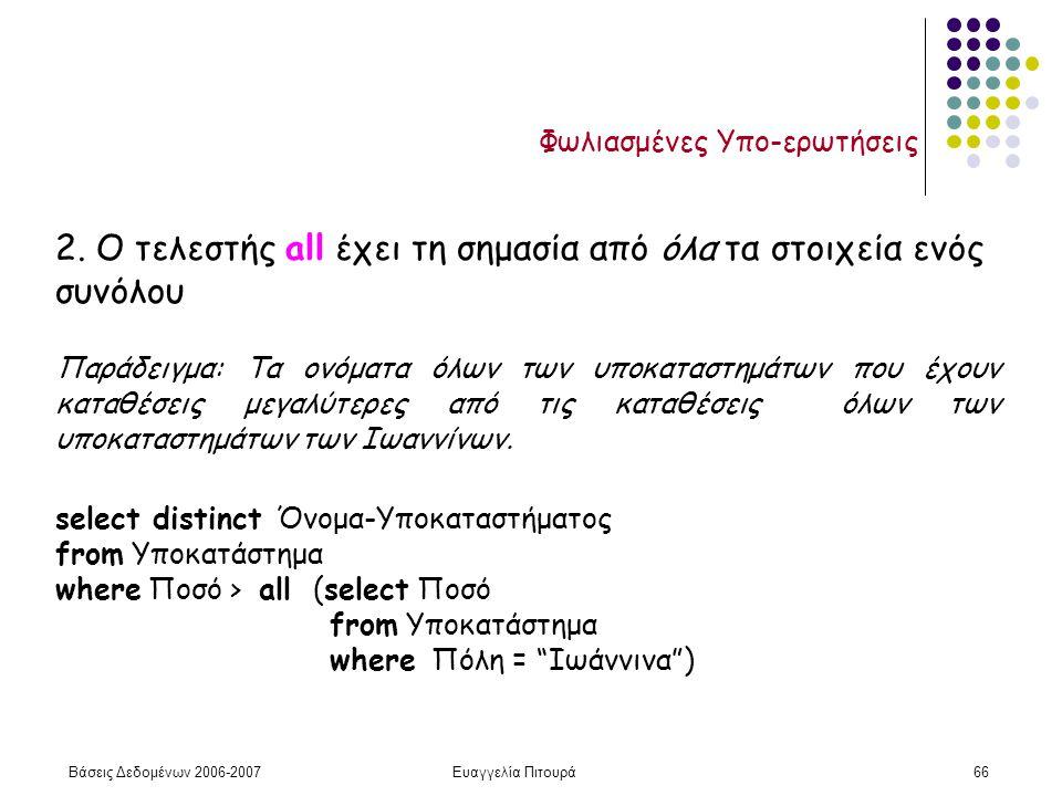 Βάσεις Δεδομένων 2006-2007Ευαγγελία Πιτουρά66 Φωλιασμένες Υπο-ερωτήσεις 2.