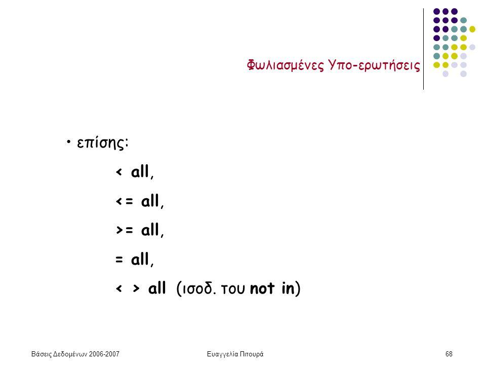 Βάσεις Δεδομένων 2006-2007Ευαγγελία Πιτουρά68 Φωλιασμένες Υπο-ερωτήσεις επίσης: < all, <= all, >= all, = all, all (ισοδ.