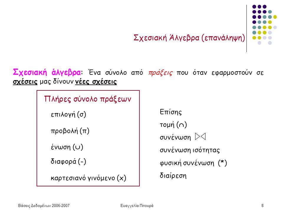 Βάσεις Δεδομένων 2006-2007Ευαγγελία Πιτουρά8 Σχεσιακή Άλγεβρα (επανάληψη) Πλήρες σύνολο πράξεων επιλογή (σ) προβολή (π) διαφορά (-) ένωση (  ) καρτεσιανό γινόμενο (x) Επίσης τομή (  ) συνένωση συνένωση ισότητας φυσική συνένωση (*) διαίρεση Σχεσιακή άλγεβρα: Ένα σύνολο από πράξεις που όταν εφαρμοστούν σε σχέσεις μας δίνουν νέες σχέσεις