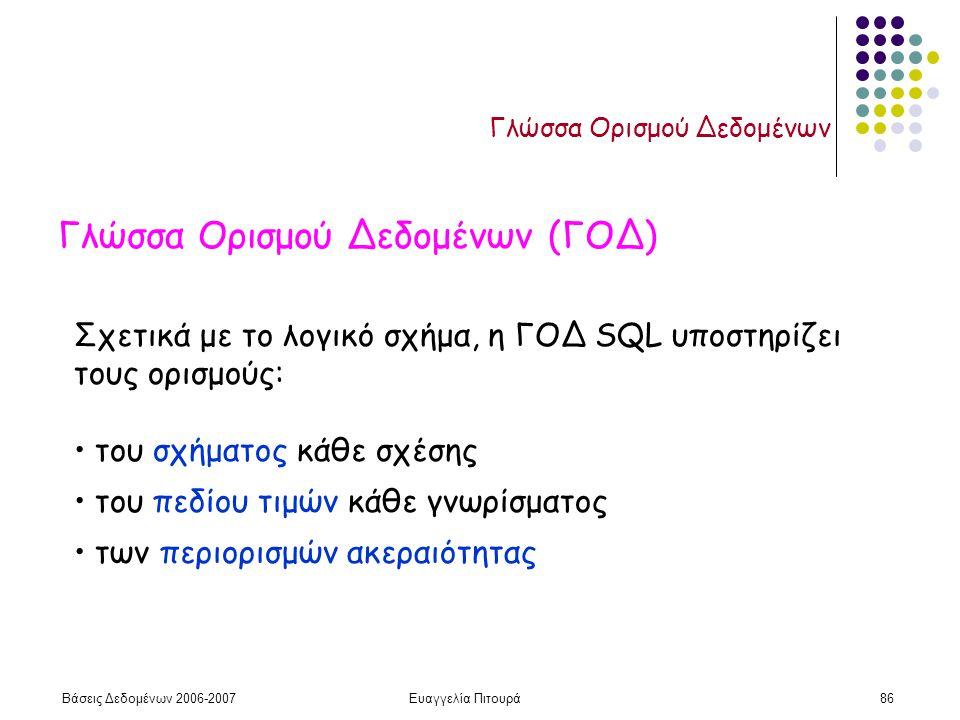 Βάσεις Δεδομένων 2006-2007Ευαγγελία Πιτουρά86 Γλώσσα Ορισμού Δεδομένων Γλώσσα Ορισμού Δεδομένων (ΓΟΔ) Σχετικά με το λογικό σχήμα, η ΓΟΔ SQL υποστηρίζει τους ορισμούς: του σχήματος κάθε σχέσης του πεδίου τιμών κάθε γνωρίσματος των περιορισμών ακεραιότητας
