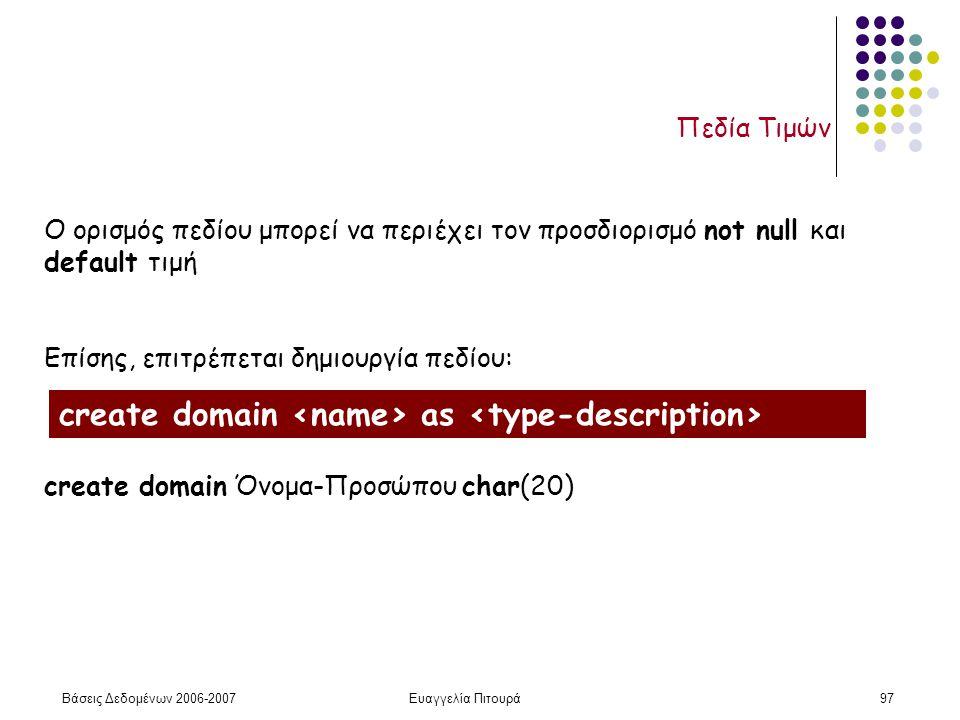 Βάσεις Δεδομένων 2006-2007Ευαγγελία Πιτουρά97 Πεδία Τιμών Ο ορισμός πεδίου μπορεί να περιέχει τον προσδιορισμό not null και default τιμή Επίσης, επιτρέπεται δημιουργία πεδίου: create domain Όνομα-Προσώπου char(20) create domain as