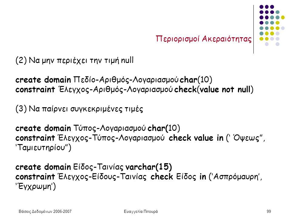 Βάσεις Δεδομένων 2006-2007Ευαγγελία Πιτουρά99 Περιορισμοί Ακεραιότητας (2) Να μην περιέχει την τιμή null create domain Πεδίο-Αριθμός-Λογαριασμού char(10) constraint Έλεγχος-Αριθμός-Λογαριασμού check(value not null) (3) Να παίρνει συγκεκριμένες τιμές create domain Τύπος-Λογαριασμού char(10) constraint Έλεγχος-Τύπος-Λογαριασμού check value in (' Όψεως , 'Ταμιευτηρίου ) create domain Είδος-Ταινίας varchar(15) constraint Έλεγχος-Είδους-Ταινίας check Είδος in ('Ασπρόμαυρη', 'Έγχρωμη')