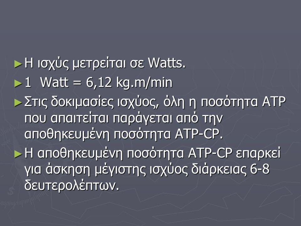 ► Η ισχύς μετρείται σε Watts. ► 1 Watt = 6,12 kg.m/min ► Στις δοκιμασίες ισχύος, όλη η ποσότητα ΑΤΡ που απαιτείται παράγεται από την αποθηκευμένη ποσό