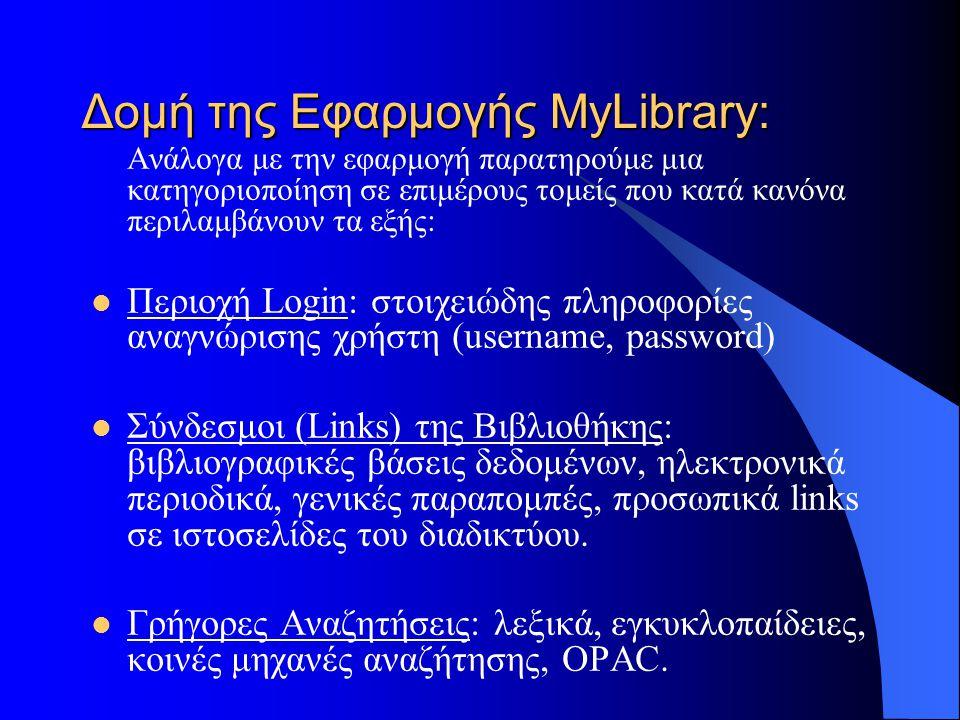 Δομή της Εφαρμογής MyLibrary: Ανάλογα με την εφαρμογή παρατηρούμε μια κατηγοριοποίηση σε επιμέρους τομείς που κατά κανόνα περιλαμβάνουν τα εξής: Περιοχή Login: στοιχειώδης πληροφορίες αναγνώρισης χρήστη (username, password) Σύνδεσμοι (Links) της Βιβλιοθήκης: βιβλιογραφικές βάσεις δεδομένων, ηλεκτρονικά περιοδικά, γενικές παραπομπές, προσωπικά links σε ιστοσελίδες του διαδικτύου.