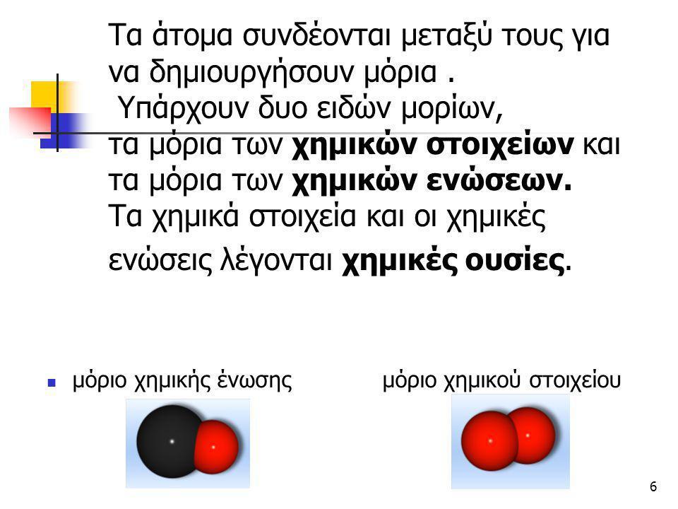 7 Η διαφορά μεταξύ των μορίων των χημικών ενώσεων και των μορίων των χημικών στοιχείων είναι η εξής : Τα μόρια των ενώσεων αποτελούνται από διαφορετικά άτομα (άτομα διαφορετικών στοιχείων) ενώ τα άτομα των στοιχείων αποτελούνται από ίδια άτομα (άτομα του ιδίου στοιχείου) 1 άτομο άνθρακα 2 άτομα οξυγόνου= και 1 άτομο οξυγόνου = 1 μόριο οξυγόνου 1 μόριο μονοξειδίου του άνθρακα