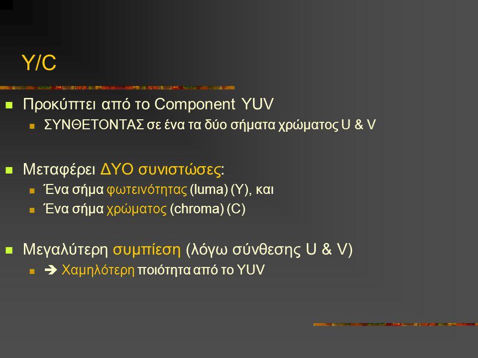 Y/C Προκύπτει από το Component YUV ΣΥΝΘΕΤΟΝΤΑΣ σε ένα τα δύο σήματα χρώματος U & V Μεταφέρει ΔΥΟ συνιστώσες: Ένα σήμα φωτεινότητας (luma) (Υ), και Ένα σήμα χρώματος (chroma) (C) Μεγαλύτερη συμπίεση (λόγω σύνθεσης U & V)  Χαμηλότερη ποιότητα από το YUV