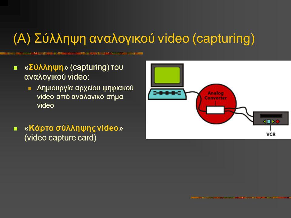 (Α) Σύλληψη αναλογικού video (capturing) «Σύλληψη» (capturing) του αναλογικού video: Δημιουργία αρχείου ψηφιακού video από αναλογικό σήμα video «Κάρτα σύλληψης video» (video capture card)