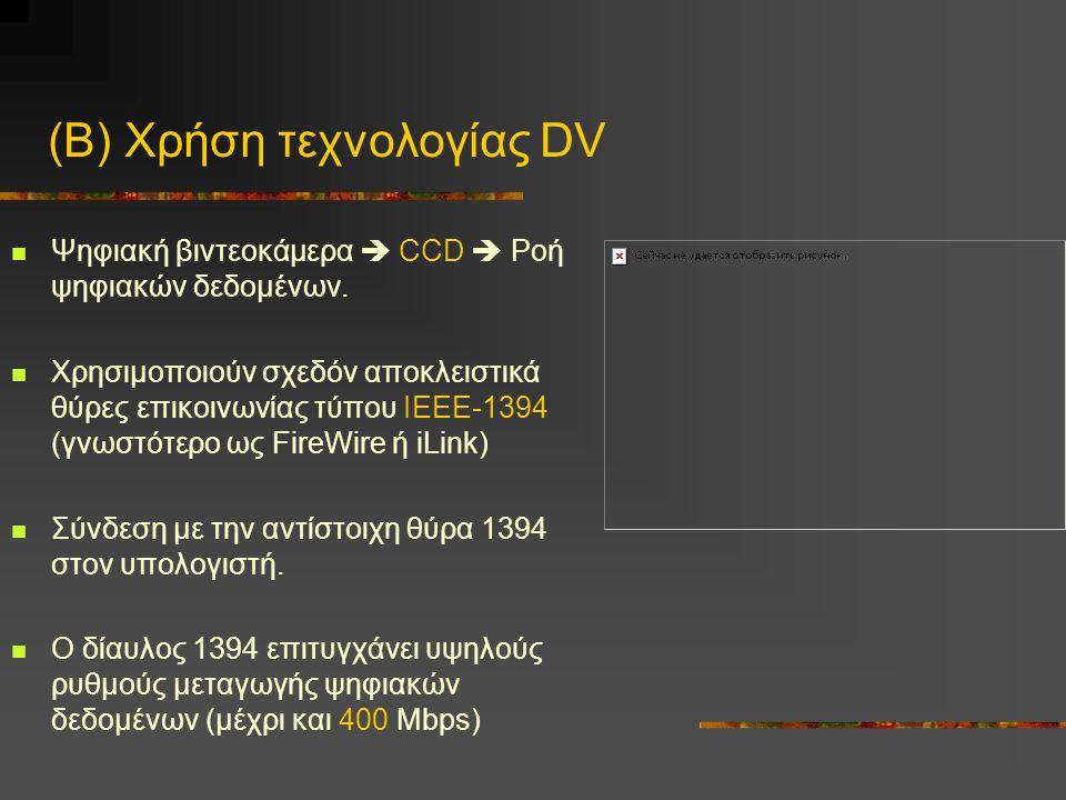(Β) Χρήση τεχνολογίας DV Ψηφιακή βιντεοκάμερα  CCD  Ροή ψηφιακών δεδομένων.
