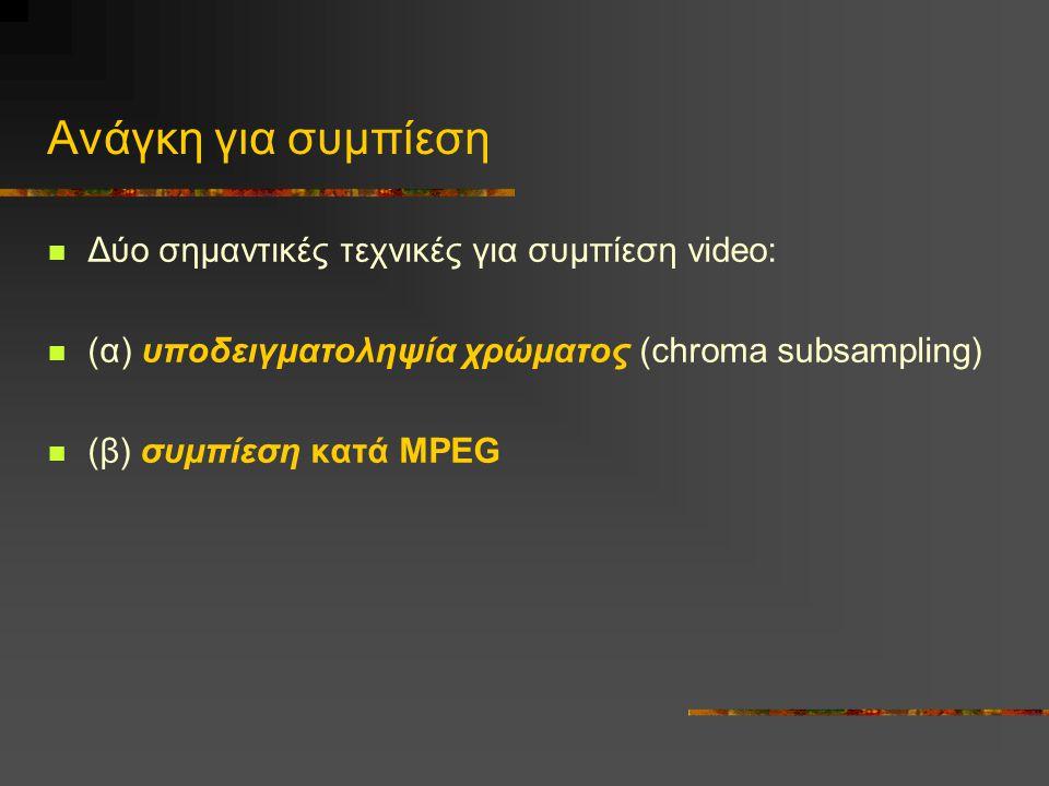 Ανάγκη για συμπίεση Δύο σημαντικές τεχνικές για συμπίεση video: (α) υποδειγματοληψία χρώματος (chroma subsampling) (β) συμπίεση κατά MPEG