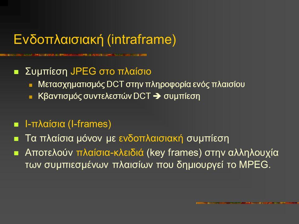 Ενδοπλαισιακή (intraframe) Συμπίεση JPEG στο πλαίσιο Μετασχηματισμός DCT στην πληροφορία ενός πλαισίου Κβαντισμός συντελεστών DCT  συμπίεση I-πλαίσια (I-frames) Τα πλαίσια μόνον με ενδοπλαισιακή συμπίεση Αποτελούν πλαίσια-κλειδιά (key frames) στην αλληλουχία των συμπιεσμένων πλαισίων που δημιουργεί το MPEG.
