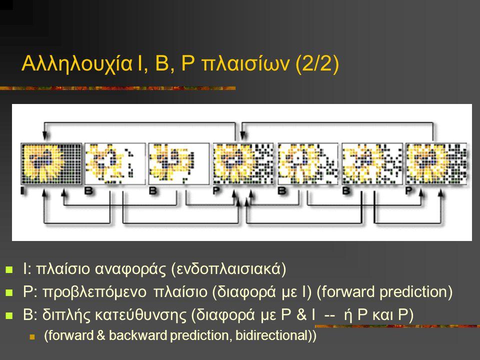 Αλληλουχία Ι, Β, Ρ πλαισίων (2/2) Ι: πλαίσιο αναφοράς (ενδοπλαισιακά) Ρ: προβλεπόμενο πλαίσιο (διαφορά με Ι) (forward prediction) Β: διπλής κατεύθυνσης (διαφορά με Ρ & Ι -- ή Ρ και Ρ) (forward & backward prediction, bidirectional))
