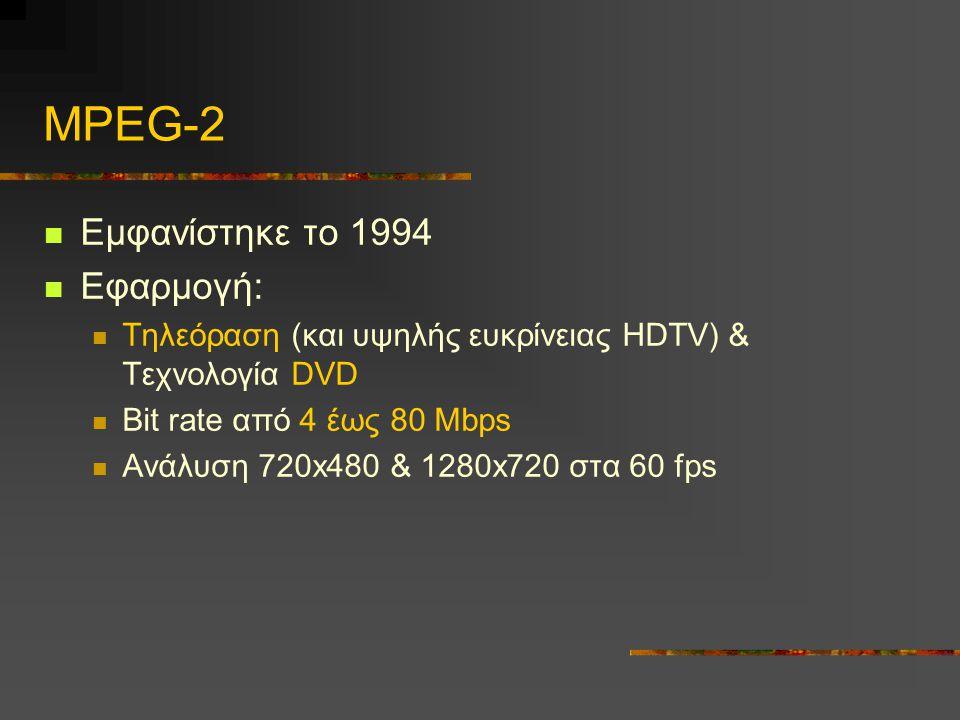 MPEG-2 Εμφανίστηκε το 1994 Εφαρμογή: Τηλεόραση (και υψηλής ευκρίνειας HDTV) & Τεχνολογία DVD Bit rate από 4 έως 80 Mbps Ανάλυση 720x480 & 1280x720 στα 60 fps