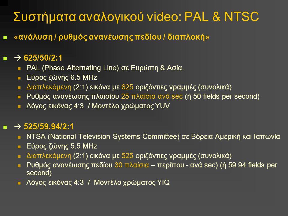 Συστήματα αναλογικού video: PAL & NTSC «ανάλυση / ρυθμός ανανέωσης πεδίου / διαπλοκή»  625/50/2:1 PAL (Phase Alternating Line) σε Ευρώπη & Ασία.
