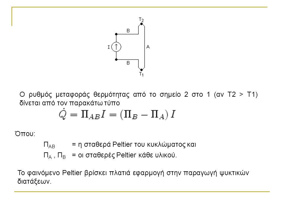 Όπου: Π ΑΒ = η σταθερά Peltier του κυκλώματος και Π Α, Π Β = οι σταθερές Peltier κάθε υλικού. Ο ρυθμός μεταφοράς θερμότητας από το σημείο 2 στο 1 (αν