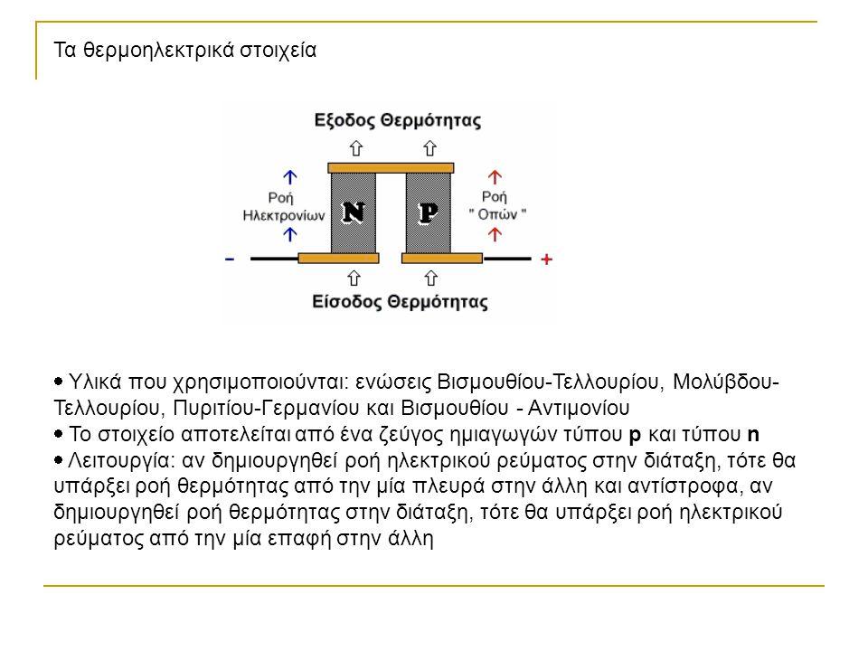 Τα θερμοηλεκτρικά στοιχεία  Υλικά που χρησιμοποιούνται: ενώσεις Βισμουθίου-Τελλουρίου, Μολύβδου- Τελλουρίου, Πυριτίου-Γερμανίου και Βισμουθίου - Αντι