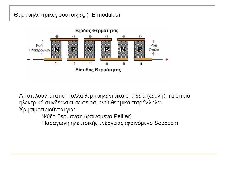 Θερμοηλεκτρικές συστοιχίες (TE modules) Αποτελούνται από πολλά θερμοηλεκτρικά στοιχεία (ζεύγη), τα οποία ηλεκτρικά συνδέονται σε σειρά, ενώ θερμικά πα