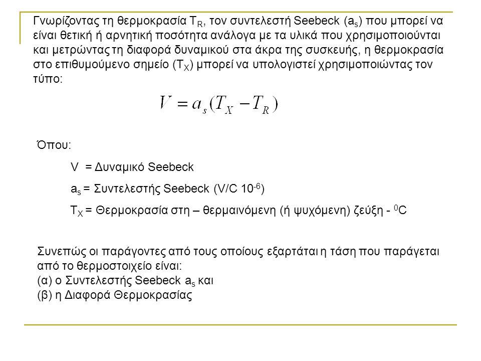 Γνωρίζοντας τη θερμοκρασία T R, τον συντελεστή Seebeck (a s ) που μπορεί να είναι θετική ή αρνητική ποσότητα ανάλογα με τα υλικά που χρησιμοποιούνται