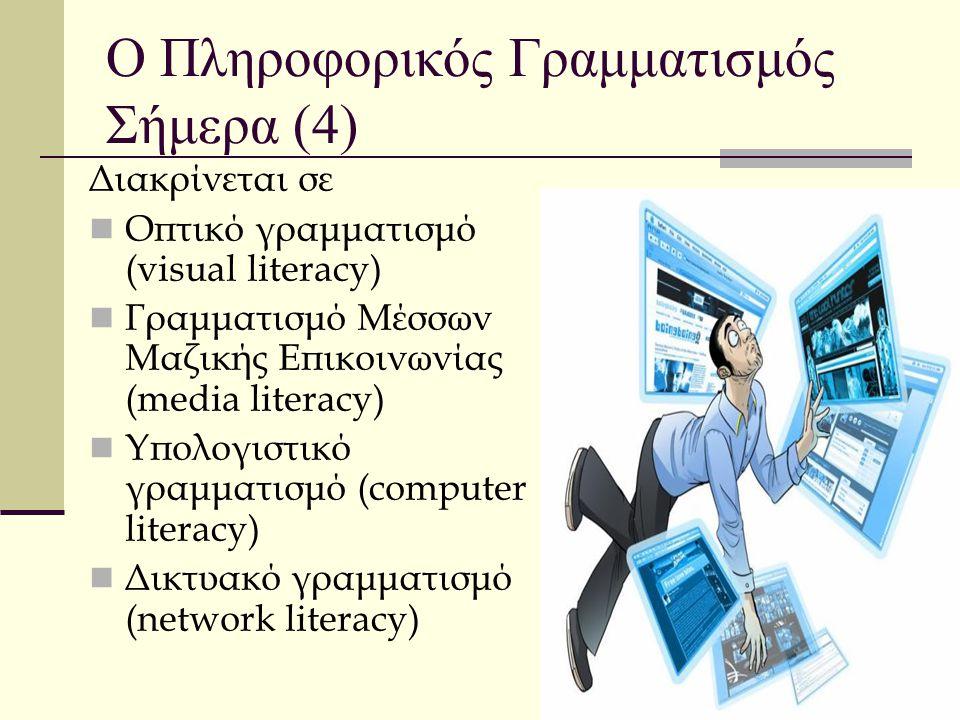 Ο Πληροφορικός Γραμματισμός Σήμερα (4) Διακρίνεται σε Οπτικό γραμματισμό (visual literacy) Γραμματισμό Μέσσων Μαζικής Επικοινωνίας (media literacy) Υπ