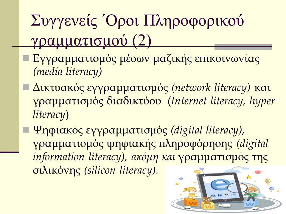 Συγγενείς ΄Οροι Πληροφορικού γραμματισμού (2) Εγγραμματισμός μέσων μαζικής επικοινωνίας (media literacy) Δικτυακός εγγραμματισμός (network literacy) κ