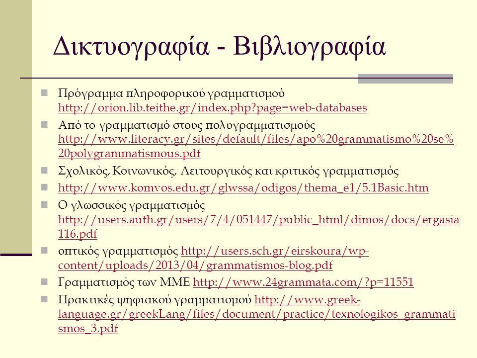 Δικτυογραφία - Βιβλιογραφία Πρόγραμμα πληροφορικού γραμματισμού http://orion.lib.teithe.gr/index.php?page=web-databases http://orion.lib.teithe.gr/ind