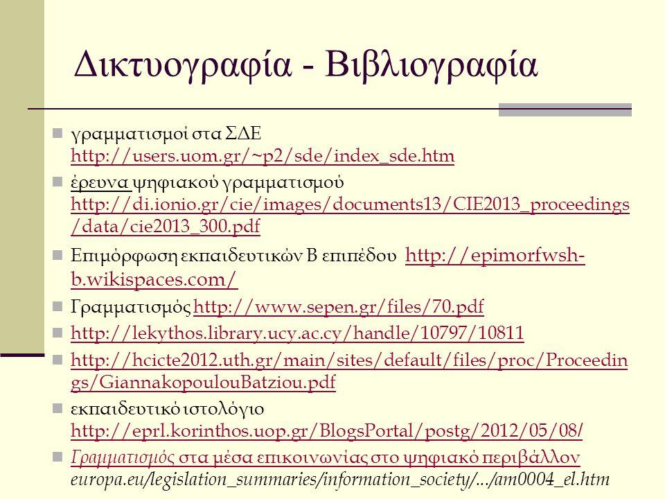 Δικτυογραφία - Βιβλιογραφία γραμματισμοί στα ΣΔΕ http://users.uom.gr/~p2/sde/index_sde.htm http://users.uom.gr/~p2/sde/index_sde.htm έρευνα ψηφιακού γ