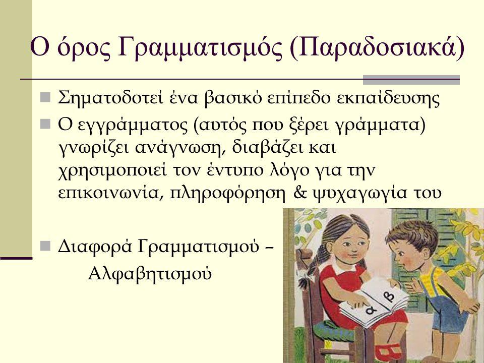 Ο όρος Γραμματισμός (Παραδοσιακά) Σηματοδοτεί ένα βασικό επίπεδο εκπαίδευσης Ο εγγράμματος (αυτός που ξέρει γράμματα) γνωρίζει ανάγνωση, διαβάζει και