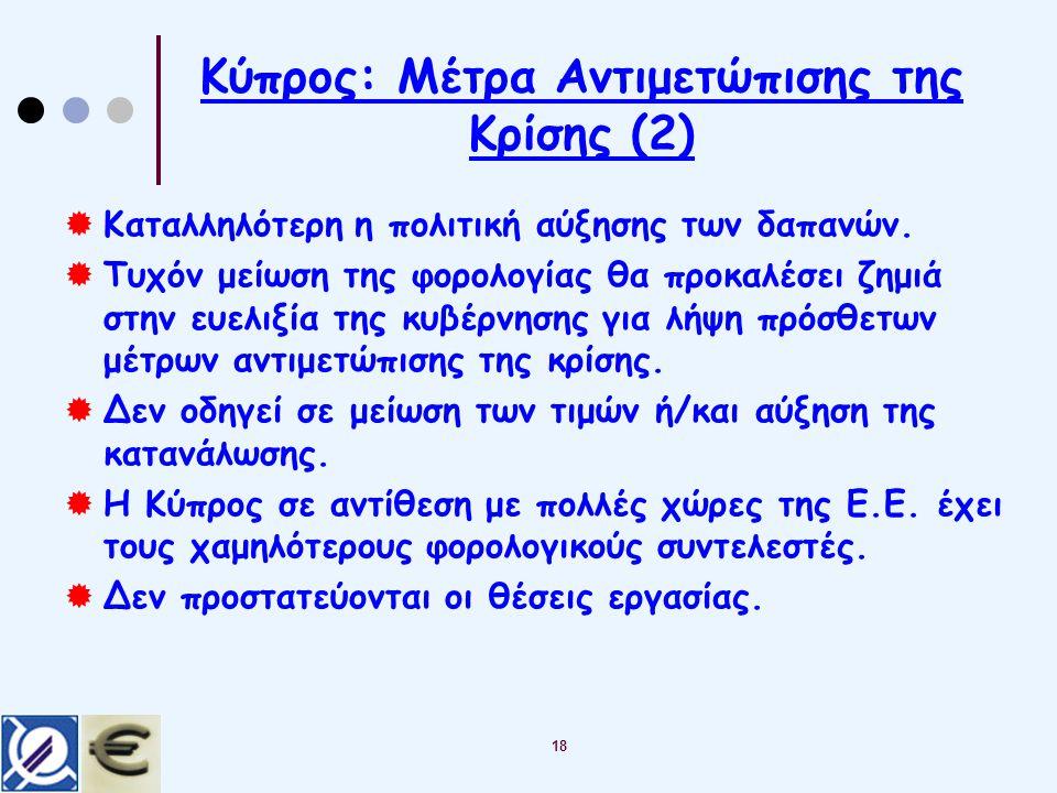 18 Κύπρος: Μέτρα Αντιμετώπισης της Κρίσης (2)  Καταλληλότερη η πολιτική αύξησης των δαπανών.
