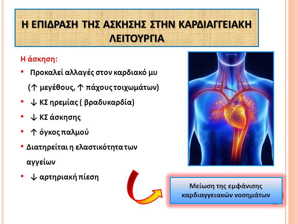 Η άσκηση: Προκαλεί αλλαγές στον καρδιακό μυ (↑ μεγέθους, ↑ πάχους τοιχωμάτων) ↓ ΚΣ ηρεμίας ( βραδυκαρδία) ↓ ΚΣ άσκησης ↑ όγκος παλμού Διατηρείται η ελ