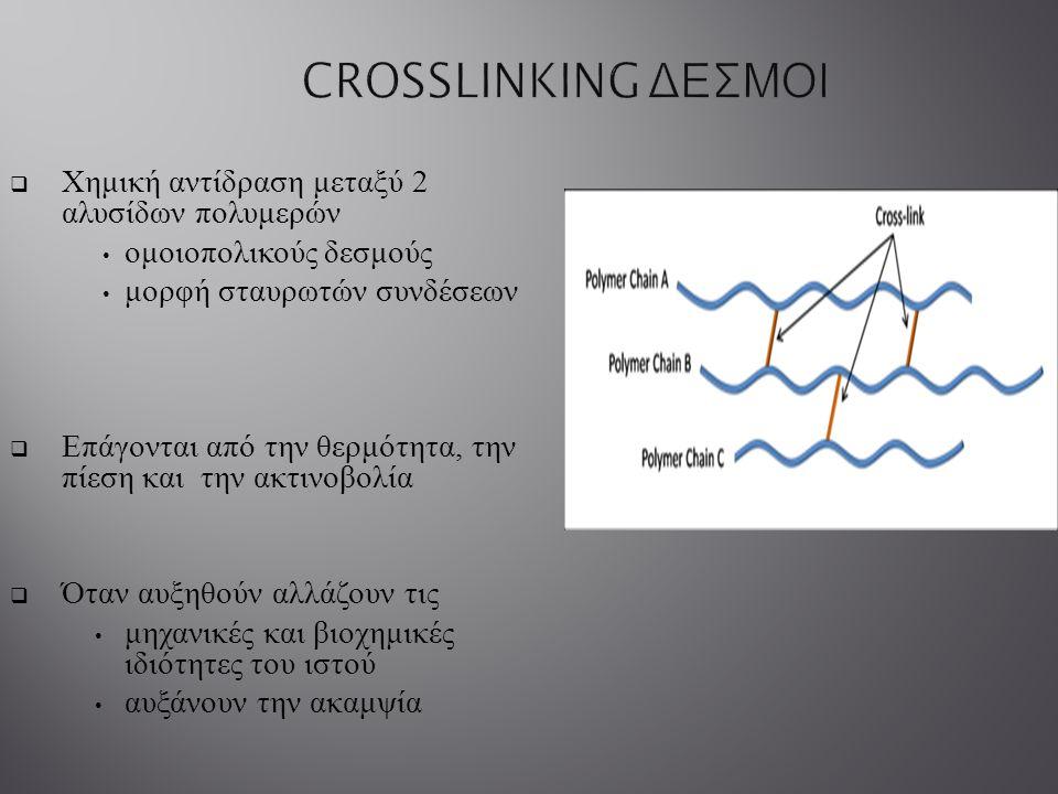  Χημική αντίδραση μεταξύ 2 αλυσίδων πολυμερών ομοιοπολικούς δεσμούς μορφή σταυρωτών συνδέσεων  Επάγονται από την θερμότητα, την πίεση και την ακτινο