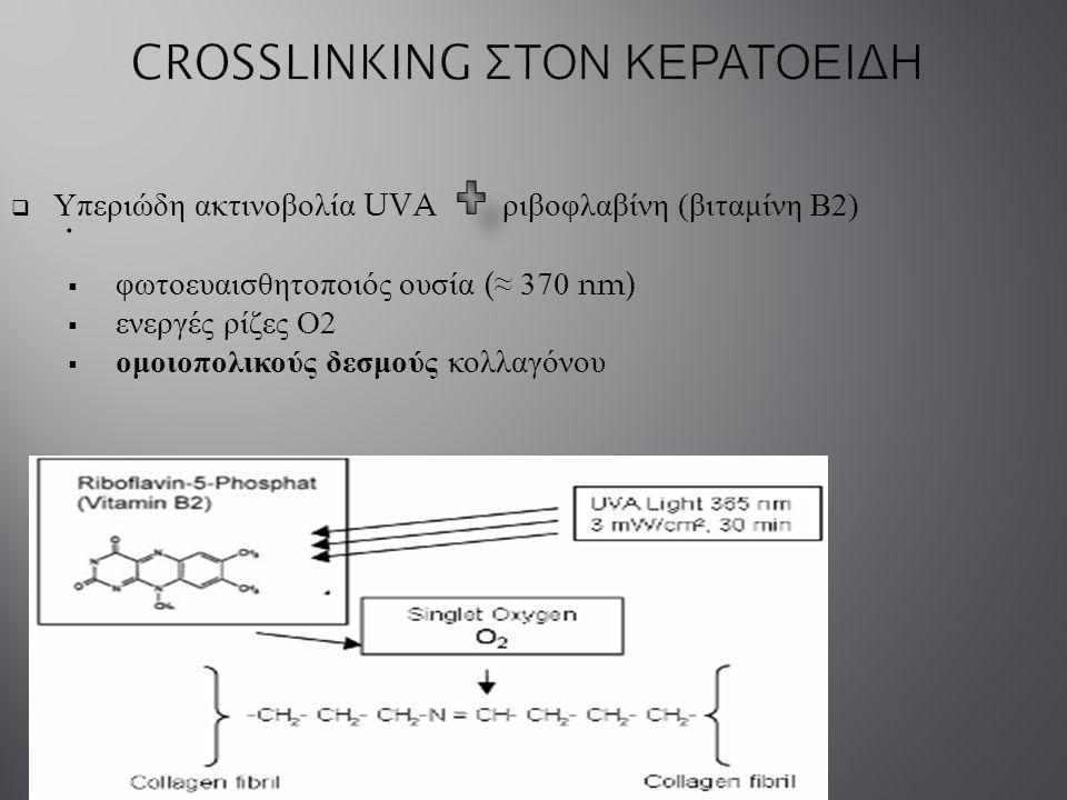 .  Υπεριώδη ακτινοβολία UVA ριβοφλαβίνη ( βιταμίνη Β 2)  φωτοευαισθητοποιός ουσία (≈ 370 nm)  ενεργές ρίζες Ο 2  ομοιοπολικούς δεσμούς κολλαγόνου