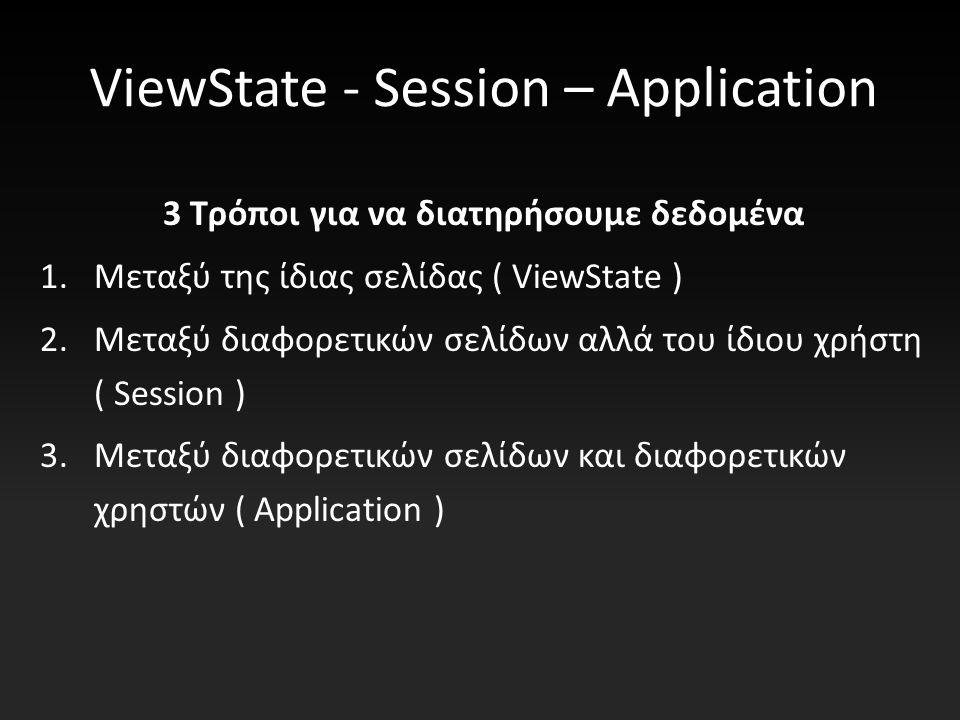 ViewState - Session – Application 3 Τρόποι για να διατηρήσουμε δεδομένα 1.Μεταξύ της ίδιας σελίδας ( ViewState ) 2.Μεταξύ διαφορετικών σελίδων αλλά του ίδιου χρήστη ( Session ) 3.Μεταξύ διαφορετικών σελίδων και διαφορετικών χρηστών ( Application )