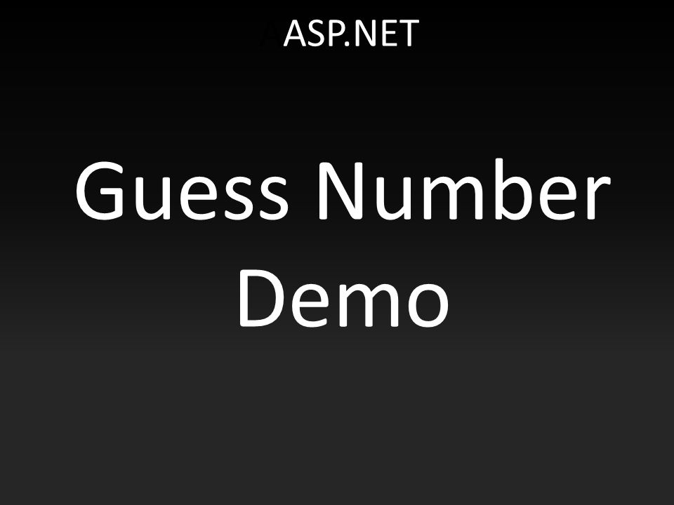 AASP.NET Guess Number Demo