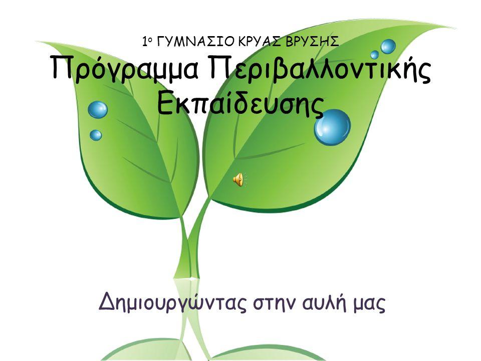 1 ο ΓΥΜΝΑΣΙΟ ΚΡΥΑΣ ΒΡΥΣΗΣ Πρόγραμμα Περιβαλλοντικής Εκπαίδευσης Δημιουργώντας στην αυλή μας