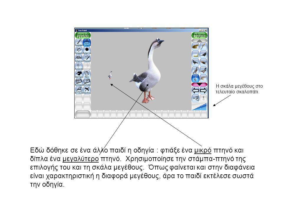 Εδώ δόθηκε σε ένα άλλο παιδί η οδηγία : φτιάξε ένα μικρό πτηνό και δίπλα ένα μεγαλύτερο πτηνό. Χρησιμοποίησε την στάμπα-πτηνό της επιλογής του και τη