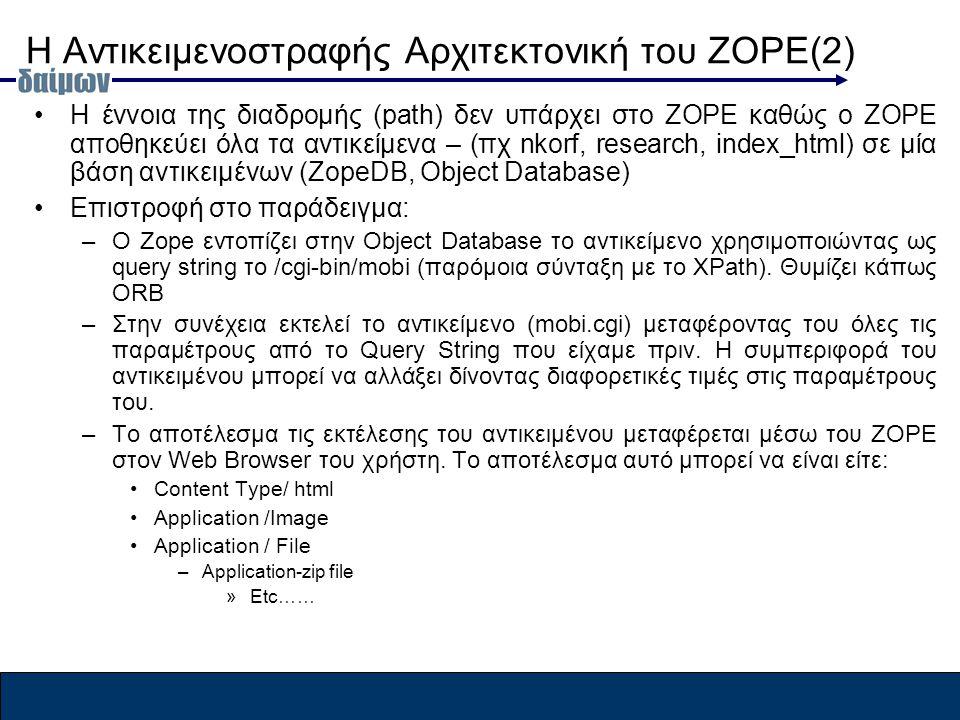 Η Αντικειμενοστραφής Αρχιτεκτονική του ZOPE(2) Η έννοια της διαδρομής (path) δεν υπάρχει στο ZOPE καθώς ο ΖOPE αποθηκεύει όλα τα αντικείμενα – (πχ nkorf, research, index_html) σε μία βάση αντικειμένων (ZopeDB, Object Database) Επιστροφή στο παράδειγμα: –Ο Zope εντοπίζει στην Object Database το αντικείμενο χρησιμοποιώντας ως query string το /cgi-bin/mobi (παρόμοια σύνταξη με το XPath).